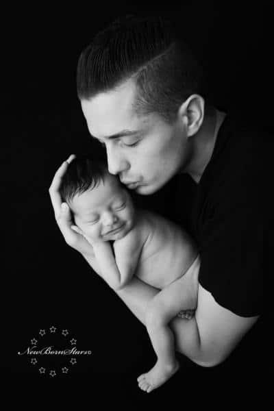 Newborn met vader
